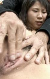 Asian Handjob Outdoor - Emiri Takeuchi Asian has clit and assets played with outdoor