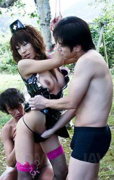 Outdoor Japanese Anal - Asuka Ishihara Asian is screwed in cunt while sucks dick outdoor