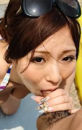 Bukkake Outdoor Porn - AYAMI Asian plays with her hot bust and sucks shlong at the pool