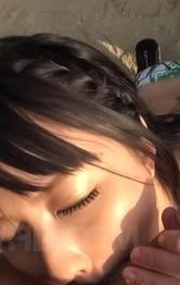 Japanese Milf Outdoor - Megumi Haruka Asian busty sucks balls and strokes cock on sand