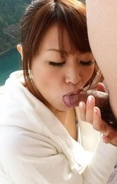 Hairy Pussy Outdoor - Maika Asian takes two dicks in mouth outdoor at the mountains